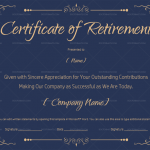 Certificate of Retirement Template – Blue (#922)