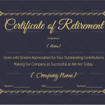 Certificate of Retirement Template (Royal Blue) (#925)