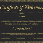 Certificate of Retirement in Black for Word (#924)