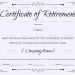 Retirement Certificate Template Grey (for Word & PDF) (#922)