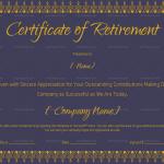 Retirement Certificate Template (Royal Blue, #930)