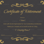Retirement Certificate for teacher, army, navy or any other… (Black #925)