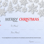 Christmas Gift Certificate Template (Snow Flakes, 1859)