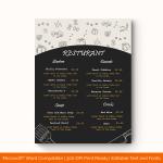 Dinner Menu Template (Grey, Printable in Word) p