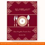 Dinner Menu Template (Mughlai, Editable in Word)