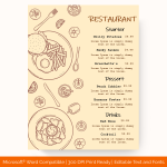 Dinner Menu Template (Peach, Blank)p