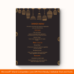Dinner Menu Template (Traditional, Fillable) p