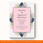 Engagement Announcement Template (Floral, Printable) preview