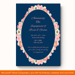 Engagement Announcement Template (Flowers, Editable) preview