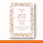 Engagement Announcement Template (Rusty, Printablein Word) preview