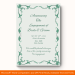Engagement Announcement Template (mint, Printable and Editable) preview