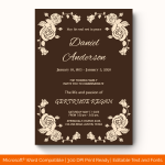 Funeral Invitation Template (Brown, Printable)
