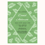 Funeral Invitation Template (Green, Blank)