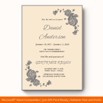 Funeral Invitation Template (Grey, Fillable)