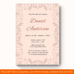 Funeral Invitation Template (Pink, Printable in word)