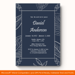 Funeral Invitation Template (White, Fillable)