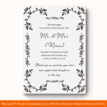 Wedding Announcement Template (Grey, Printable) Preview