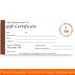 Dollar Gift Certificate Template (Blank in Word)