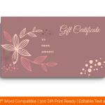 Flower Pattern Gift Certificate Template (MS Word 2.)