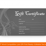 Greyish Silver Gift Certificate Template (MS Word)