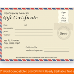 Postcard Concept Gift Certificate Template (Blank for Word)