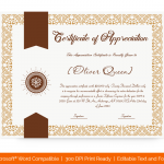 Certification of appreciation for employees (Ribbon, #1678)