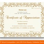 Certificate of Appreciation for Guest Speaker (Dark Brow, Fillable) p