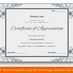 Certificate of Appreciation for Guest Speaker (Grey, Printable in Word)
