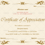 Certificate of Appreciation for Guest Speaker (Pastel Pink, Fillable)