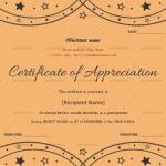 Certificate of Appreciation for Guest Speaker (Peach, Blank)