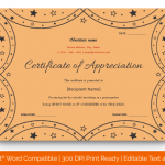 Certificate of Appreciation for Guest Speaker (Peach, Blank) p
