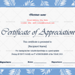 Certificate of Appreciation for Guest Speaker (Sky, Fillable in Word)