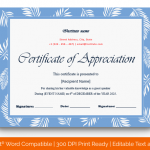 Certificate of Appreciation for Guest Speaker (Sky, Fillable in Word) p