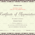 Certificate of Appreciation for Students (Burgundy, editable)