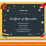 Certificate of Appreciation for Students (Chalkboard, Fillable) p