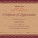 Certificate of Appreciation for Students (Chocolate, Blank)