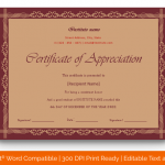 Certificate of Appreciation for Students (Chocolate, Blank) p