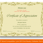 Certificate of Appreciation for Students (Light, Blank) p