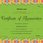 Certificate of Appreciation for Students (Pencil, Printable in Word)