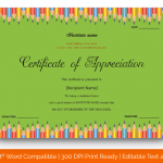 Certificate of Appreciation for Students (Pencil, Printable in Word) p
