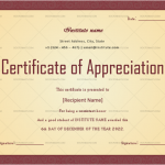 Certificate of Appreciation for Students (Plain, Fillable in Word)