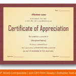 Certificate of Appreciation for Students (Plain, Fillable in Word) p