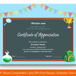 Certificate of Appreciation for Students (Science, Printable) p