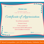 Certificate of Appreciation for Students (Simple, Editable) p