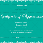 Certificate of Appreciation for Students (Sky, Fillable)