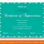 Certificate of Appreciation for Students (Sky, Fillable) p