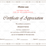 Certificate of Appreciation for Students (White, Blank)