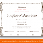 Certificate of Appreciation for Students (White, Blank) p