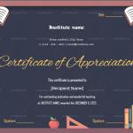 Certificate of Appreciation for Teachers (Black, Blank)