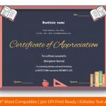 Certificate of Appreciation for Teachers (Black, Blank) p